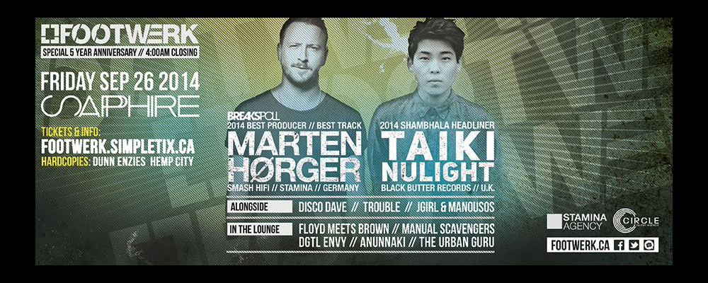FW 5 YEAR BASH w/MARTEN HORGER, TAIKI NULIGHT & 3 bands, 6 more DJs, + 4am